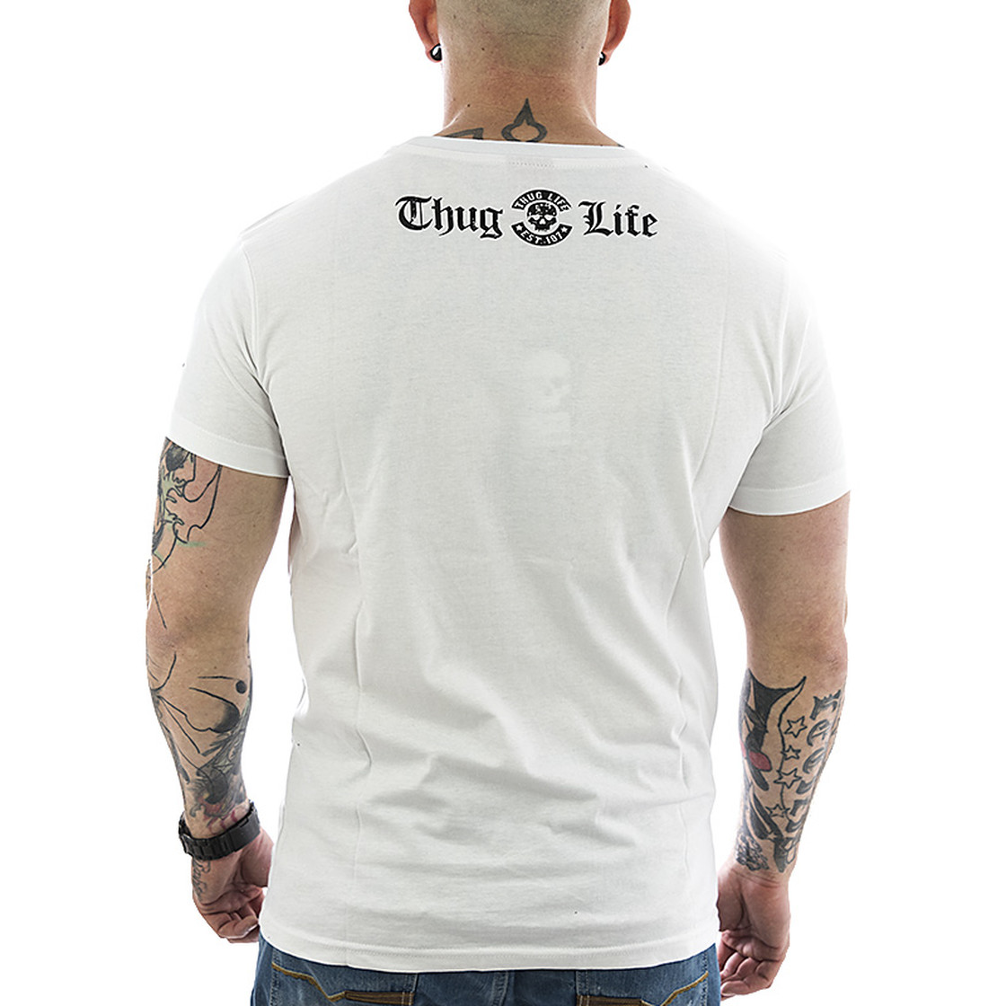 thug life herren t shirt established tl 131 wei 22. Black Bedroom Furniture Sets. Home Design Ideas