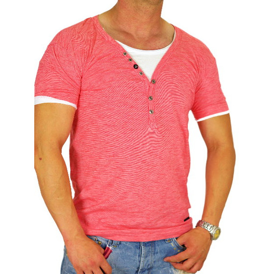 Red Bridge Herren T-Shirt coral RB 2030 tiefer Rundhals S