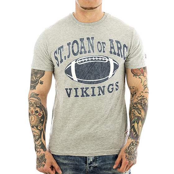 John Fletch T-Shirt Herren 5229 grau Vintage Football 1