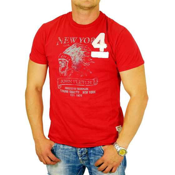 John Fletch T-Shirt Herren 5225 rot New York Vintage