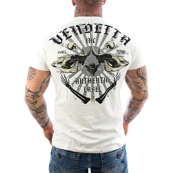 Vendetta Inc. Shirt Skull Bones weiss VD-1089 1