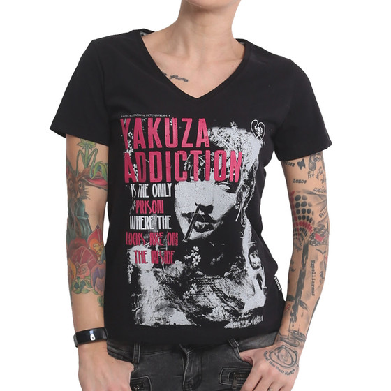 Yakuza Shirt Addiction V-Neck schwarz 16123 1
