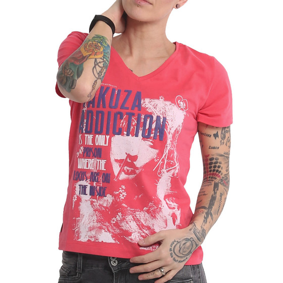 Yakuza Shirt Addiction V-Neck geranium 16123 1
