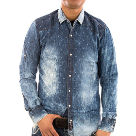 Rusty Neal Jeans Hemd 8234 rot,navy Männer Herren S,M,L,XL,XXL NEU